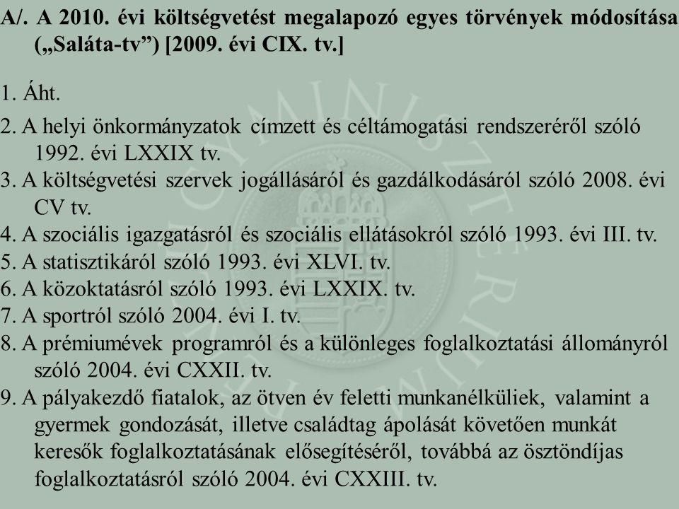 """A/. A 2010. évi költségvetést megalapozó egyes törvények módosítása (""""Saláta-tv ) [2009. évi CIX. tv.]"""